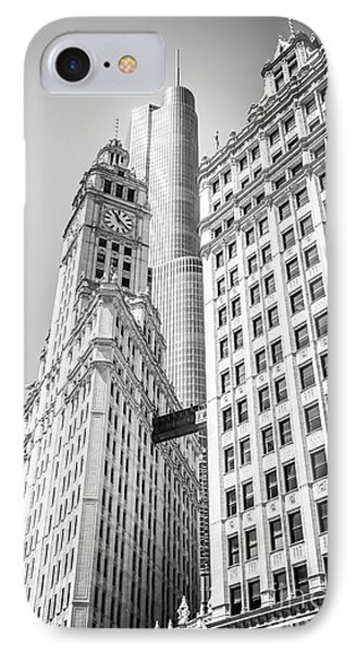 Chicago Wrigley Building And Trump Tower Black And White Photo IPhone Case by Paul Velgos