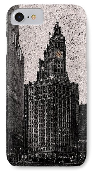 Chicago Wrigley Building At Dusk Pa 06 Sc Vertical IPhone Case by Thomas Woolworth