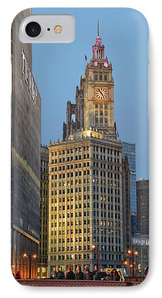 Chicago Wrigley Building At Dusk Vertical IPhone Case by Thomas Woolworth