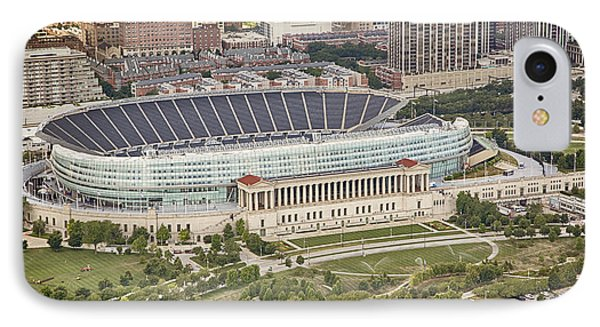 IPhone 7 Case featuring the photograph Chicago's Soldier Field Aerial by Adam Romanowicz