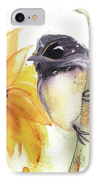 IPhone Case featuring the painting Chickadee And Sunflowers by Dawn Derman