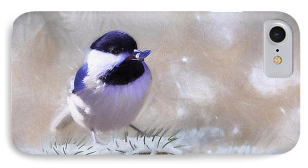 Chickadee And The Sunflower Seed IPhone Case