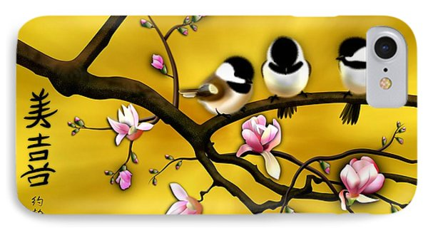 Chickadee On Blooming Magnolia Branch IPhone Case by John Wills