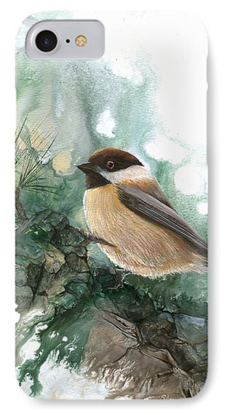 IPhone Case featuring the painting Chickadee by Sherry Shipley