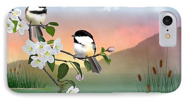 Chickadees And Apple Blossoms IPhone Case by John Wills