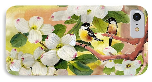 Chickadees In The Dogwood Tree Phone Case by Eileen  Fong