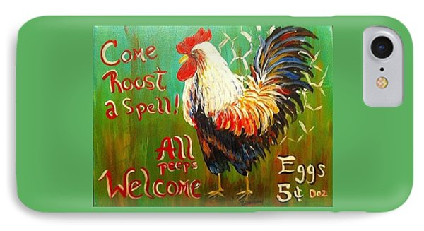 Chicken Welcome 3 IPhone Case by Belinda Lawson