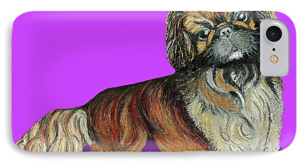 IPhone Case featuring the pastel Chien Chien Pekingese by Ania M Milo