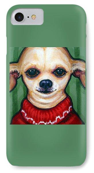 Chihuahua In Red Sweater - Boss Dog IPhone Case by Rebecca Korpita