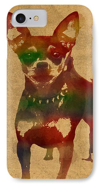 Chihuahua Watercolor Portrait On Worn Canvas IPhone Case