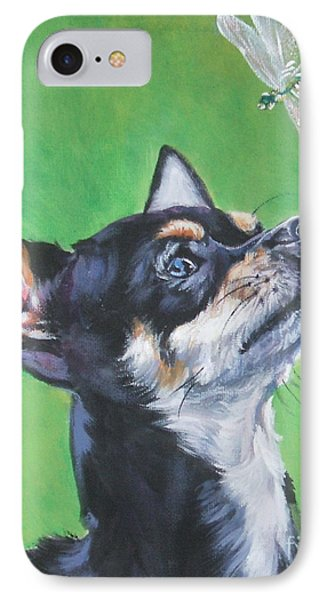 Chihuahua With Dragonfly IPhone Case by Lee Ann Shepard