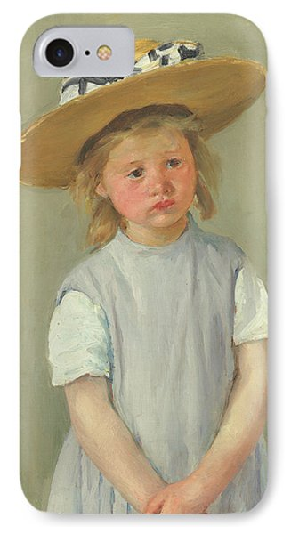 IPhone Case featuring the painting Child In A Straw Hat By Mary Cassatt 1886 by Movie Poster Prints