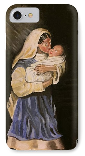 IPhone Case featuring the painting Child In Manger by Brindha Naveen