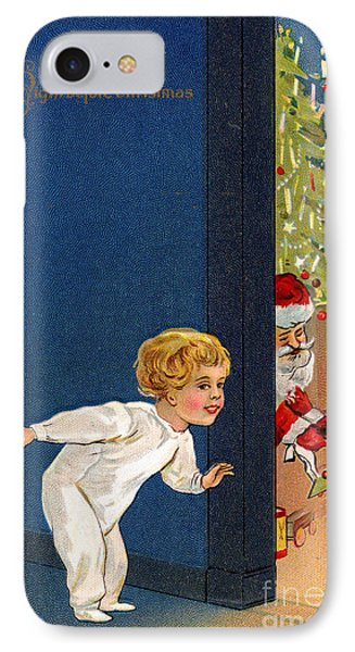 Child Listens As Santa Places Gifts By The Tree On Christmas Eve IPhone Case by American School