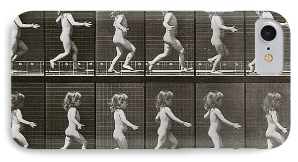 Child Running, Plate 469 From Animal Locomotion, 1887 IPhone Case by Eadweard Muybridge