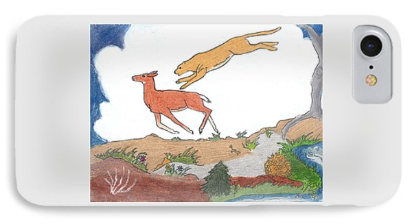 IPhone Case featuring the drawing Childhood Drawing Cougar Attacking Deer by Dawn Senior-Trask