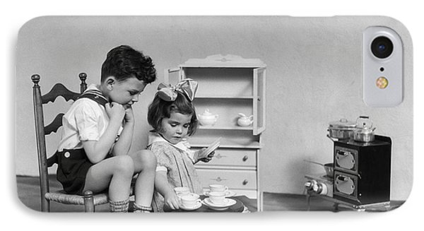 Children Having A Tea Party, C.1930s IPhone Case by H. Armstrong Roberts/ClassicStock