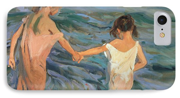 Children In The Sea IPhone Case by Joaquin Sorolla y Bastida