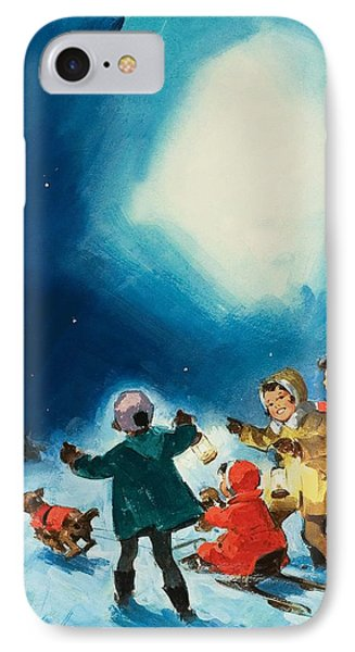 Children In The Snow IPhone Case by English School