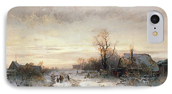 Children Playing In A Winter Landscape IPhone Case by August Fink