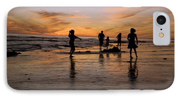 Children Playing On The Beach At Sunset Phone Case by James Forte