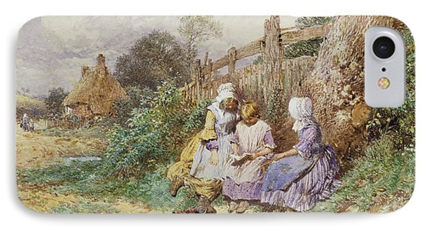 Children Reading Beside A Country Lane IPhone Case by Myles Birket Foster