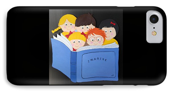 Children Reading Book IPhone Case by Brenda Bonfield