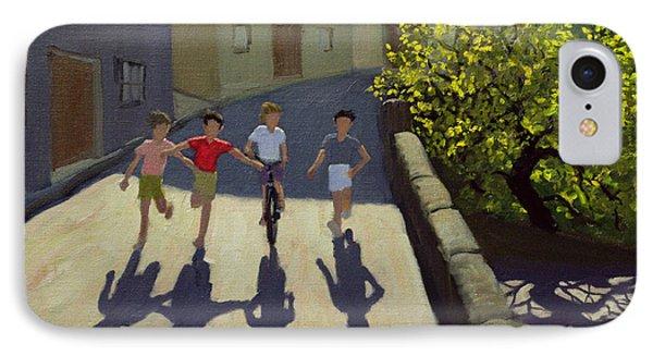 Children Running IPhone Case by Andrew Macara
