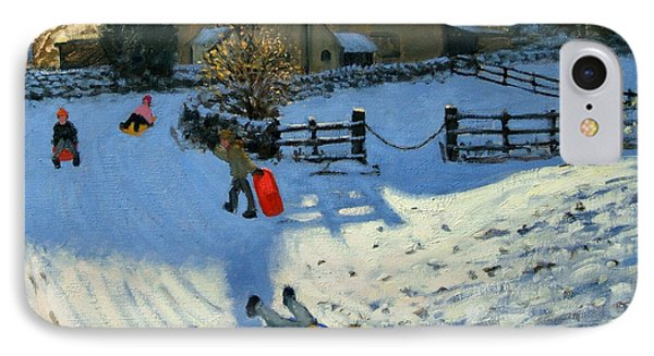 Children Sledging IPhone Case by Andrew Macara