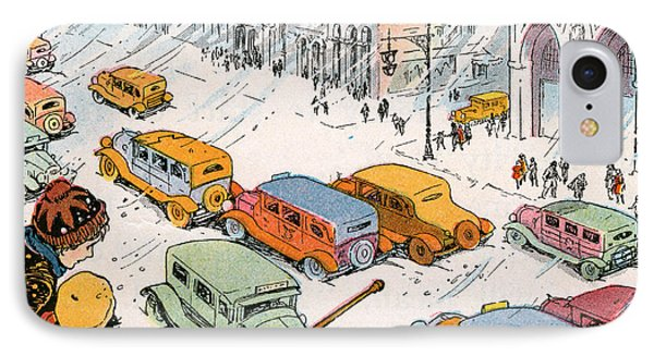 Children Watching City Traffic In A Snowstorm IPhone Case by American School