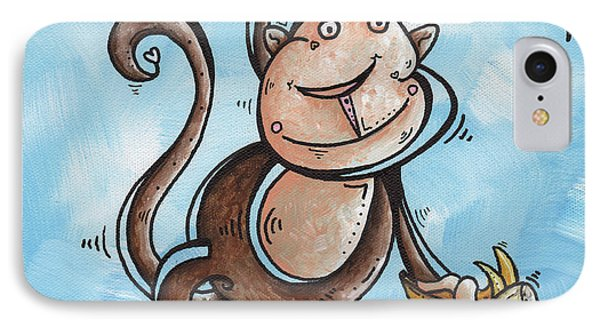Childrens Whimsical Nursery Art Original Monkey Painting Monkey Buttons By Madart IPhone Case by Megan Duncanson