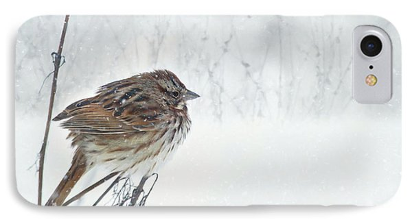 IPhone Case featuring the mixed media Chilly Song Sparrow by Lori Deiter
