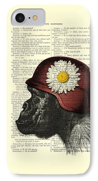 Chimpanzee With Helmet Daisy Flower Dictionary Art IPhone Case by Madame Memento