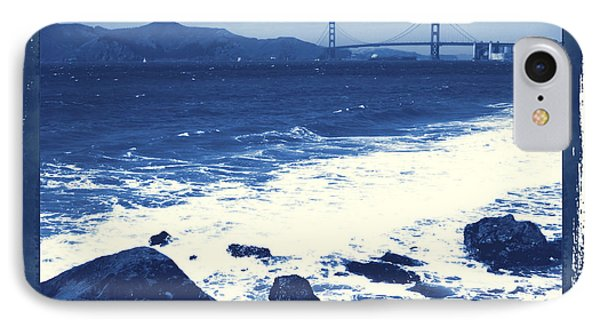 China Beach And Golden Gate Bridge With Blue Tones Phone Case by Carol Groenen