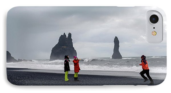 IPhone Case featuring the photograph China's Tourists In Reynisfjara Black Sand Beach, Iceland by Dubi Roman