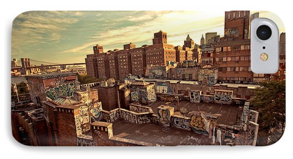 Chinatown Rooftop Graffiti And The Brooklyn Bridge - New York City Phone Case by Vivienne Gucwa
