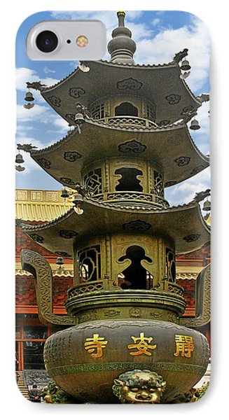 Chinese Ancient Relics - Bronze Cauldron Jing'an Temple Shanghai Phone Case by Christine Till