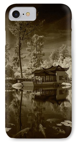 IPhone Case featuring the photograph Chinese Botanical Garden In California With Koi Fish In Sepia Tone by Randall Nyhof