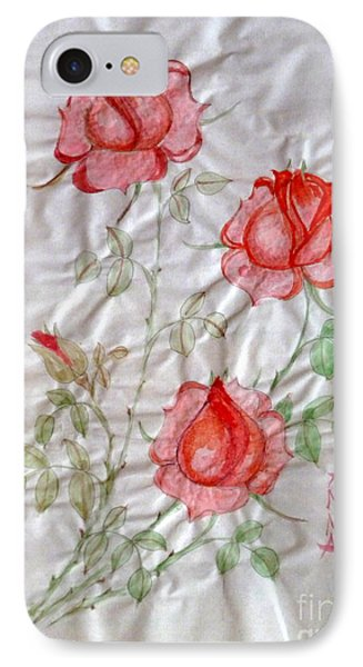 Chinese Brush Painting  Red Rose IPhone Case by Anna Folkartanna Maciejewska-Dyba