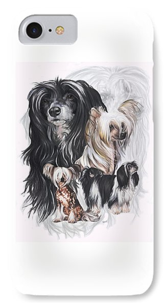 Chinese Crested And Powderpuff W/ghost IPhone Case by Barbara Keith