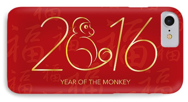 Chinese New Year 2016 Monkey On Red Background Illustration IPhone Case by Jit Lim