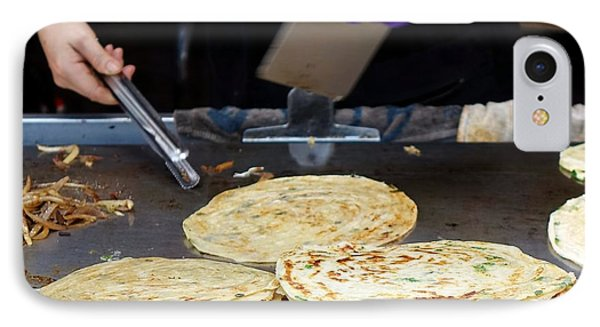 IPhone Case featuring the photograph Chinese Street Vendor Cooks Onion Pancakes by Yali Shi