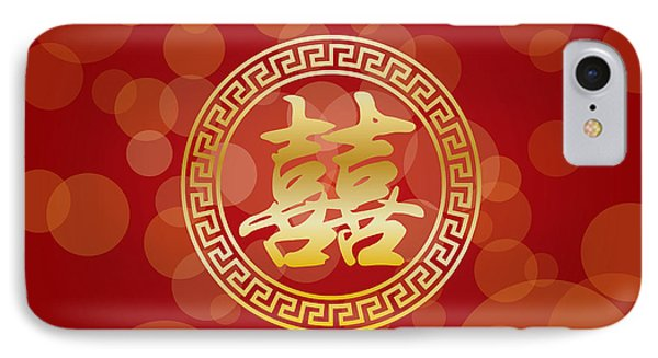 Chinese Wedding Double Happiness On Red Background IPhone Case