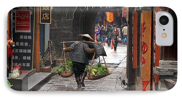 Chinese Woman Carrying Vegetables IPhone Case by Valentino Visentini