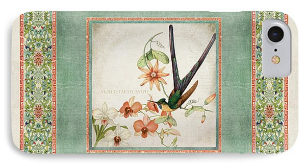 Chinoiserie Vintage Hummingbirds N Flowers 3 IPhone Case