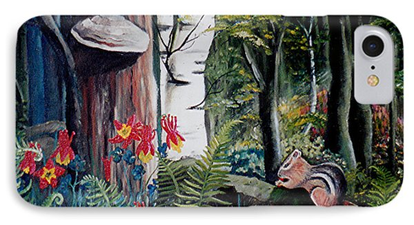 IPhone Case featuring the painting Chipmunk On A Log by Renate Nadi Wesley
