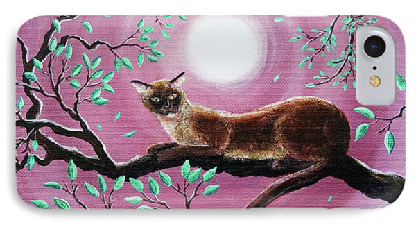 Chocolate Burmese Cat In Dancing Leaves IPhone 7 Case by Laura Iverson