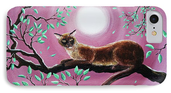 Chocolate Burmese Cat In Dancing Leaves IPhone Case by Laura Iverson