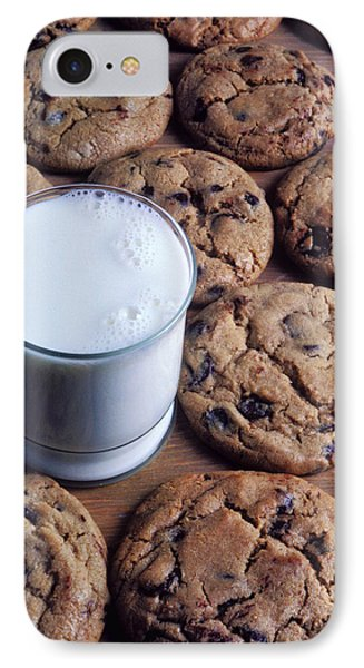Chocolate Chip Cookies And Glass Of Milk IPhone Case by Garry Gay