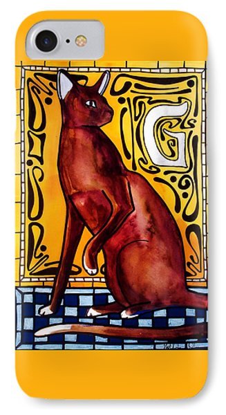 IPhone Case featuring the painting Chocolate Delight - Havana Brown Cat - Cat Art By Dora Hathazi Mendes by Dora Hathazi Mendes